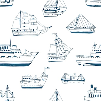 Seamless pattern with doodle ships, yachts, boats, sailing craft, sailboat, nautical vessel.