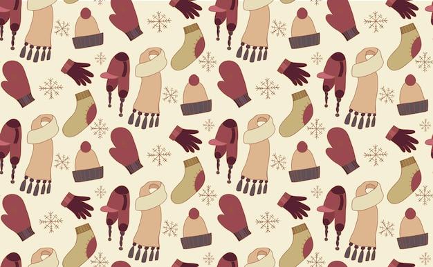 Бесшовный паттерн с каракули зимней одежды - шапки, носки, рукавицы