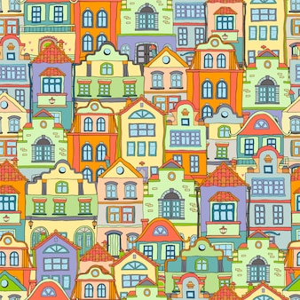 Seamless pattern with doodles colored scandinavian houses . colored background .