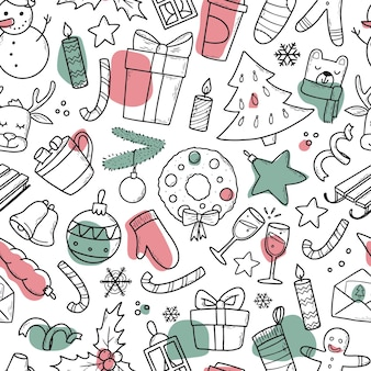 クリスマスの装飾のための落書きとシームレスなパターン