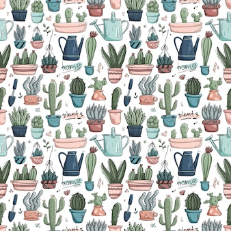 Seamless pattern with doodles home plants in pots.