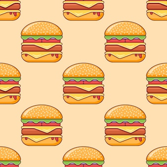 Seamless pattern with double cheeseburger.