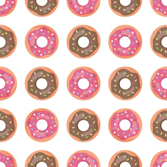 Seamless pattern with doughnuts.