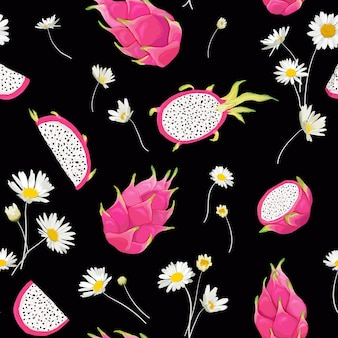 Seamless pattern with dragon fruits and daisy flower, pitaya background. hand drawn vector illustration in watercolor style for summer romantic cover, tropical wallpaper, vintage texture