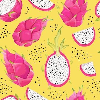 Бесшовный фон с фруктами дракона, фон питайи. ручной обращается векторные иллюстрации в стиле акварели для летних романтических обложек, тропических обоев, старинных текстур