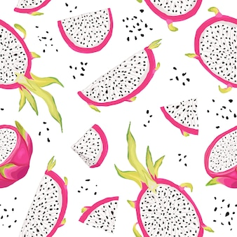 Seamless pattern with dragon fruits, pitaya background. hand drawn vector illustration in watercolor style for summer romantic cover, tropical wallpaper, vintage texture