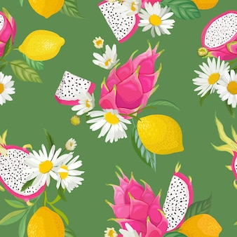Seamless pattern with dragon fruits, pitaya, citrus lemon and daisy flowers background. hand drawn vector illustration in watercolor style for summer romantic cover, tropical wallpaper, vintage textur