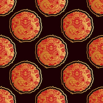 Seamless pattern with dragons in chinese style