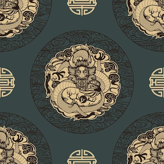 中国風のドラゴンとのシームレスなパターン