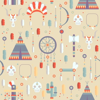 Seamless pattern with a dream catcher