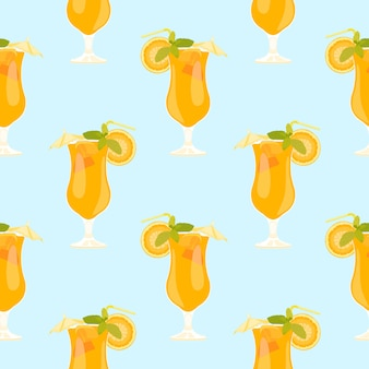 Seamless pattern with drink of summer