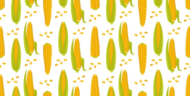 Seamless pattern with ears of corn on a green background summer or autumn yellow vegetable harvest p...