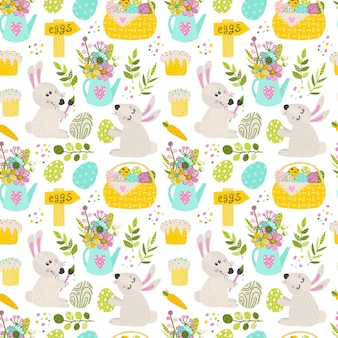 Seamless pattern with easter bunny and pie