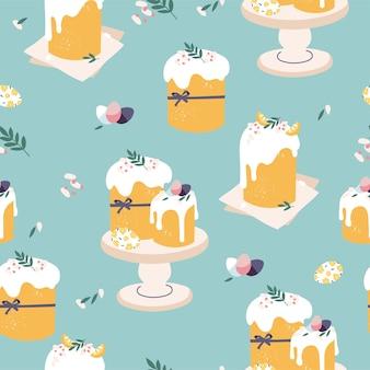 부활절 케이크와 페인트 계란 완벽 한 패턴