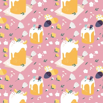 Seamless pattern with easter cakes and painted eggs