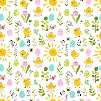 Seamless pattern with easter chicken end eggs