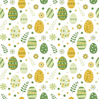 Seamless pattern with easter eggs and flowers in flat style.
