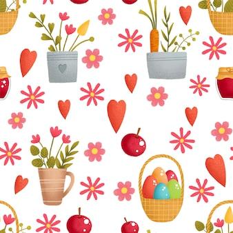春のイースターのための花の装飾とイースターエッグのシームレスパターン。