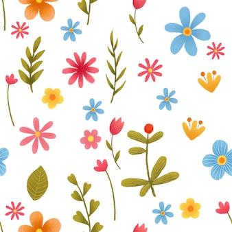 春のイースターのための花飾り付きのイースターエッグとのシームレスなパターン。