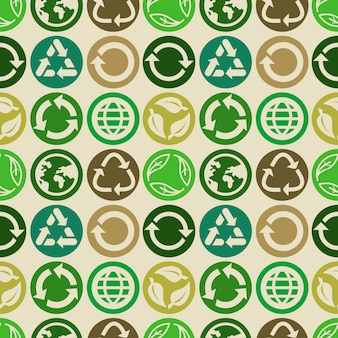Seamless pattern with ecology signs and icons