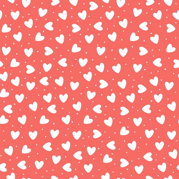 Seamless pattern with ehite hand-drawn simple hearts on coral pink background.