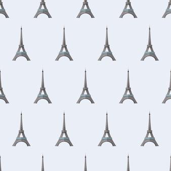 Бесшовный фон с эйфелевой башней. бесконечный фон. подходит для открыток, распечаток, оберточной бумаги и фонов. вектор.