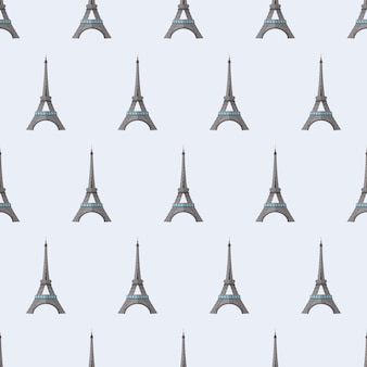 Seamless pattern with eiffel tower. endless background. good for postcards, prints, wrapping paper and backgrounds. vector.