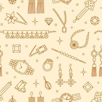 イヤリング、ブローチ、ネックレス、宝石、腕時計などの輪郭線で描かれたエレガントなジュエリーアイテムとのシームレスなパターン