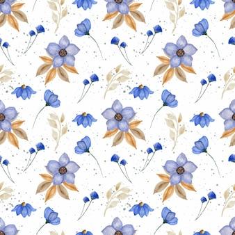 Seamless pattern with elegant wild blue flowers