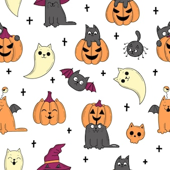 할로윈에 대 한 요소와 완벽 한 패턴입니다. 신비로운 무서운 물건. 고양이, 호박, 유령, 물약. 낙서 스타일의 그림