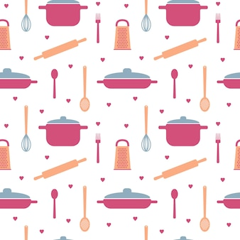 Seamless pattern with elements of kitchen utensils in pastel colors for packaging paper design