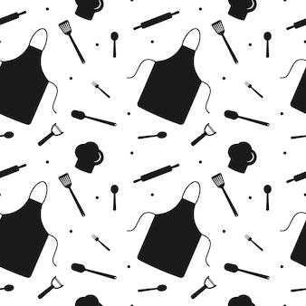 주방 용품 요리사 세트의 요소와 원활한 패턴 종이 디자인 포장