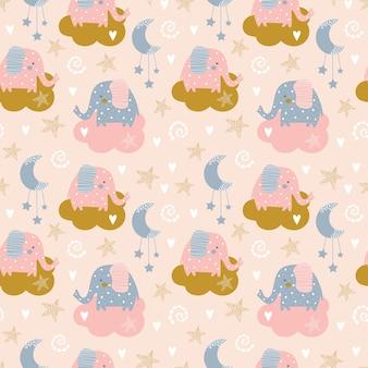 Бесшовный фон со слоном и облаком в небе. креативная детская рука нарисована для ткани, упаковки, текстиля, обоев, одежды.