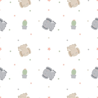 Seamless pattern with elephant and cactus with smooth color.
