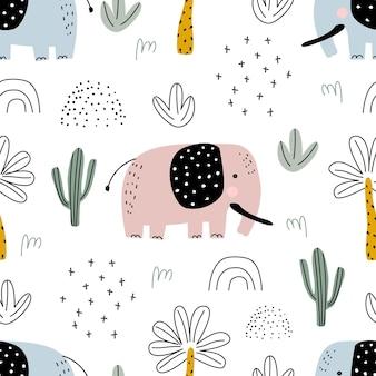 象のヤシの木とサボテンとのシームレスなパターン印刷用ベクトル図