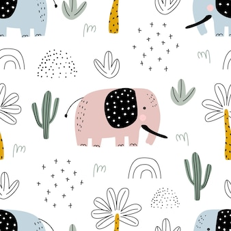 Seamless pattern with elephant palm trees and cacti vector illustration for printing
