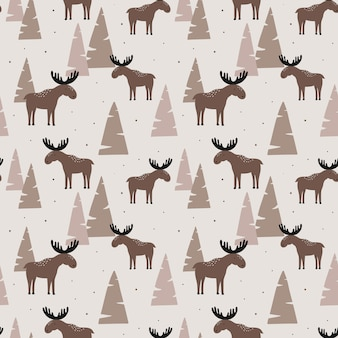 Seamless pattern with elk in a wood.