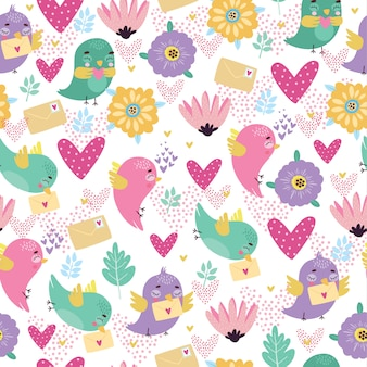 Seamless pattern with enamored birds on a white background