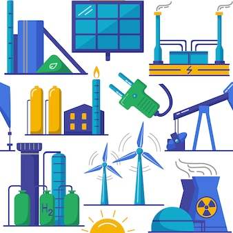 Seamless pattern with energy production symbols