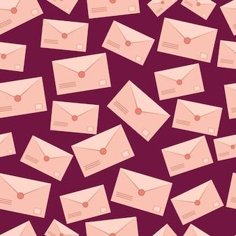 봉인된 봉투 아이콘 낭만적인 찾기로 만든 봉투 벡터 메일 텍스처와 원활한 패턴