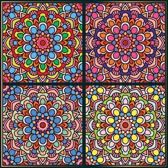 エスニック花曼荼羅アートモチーフのシームレスパターン
