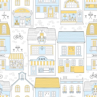 Seamless pattern with european houses