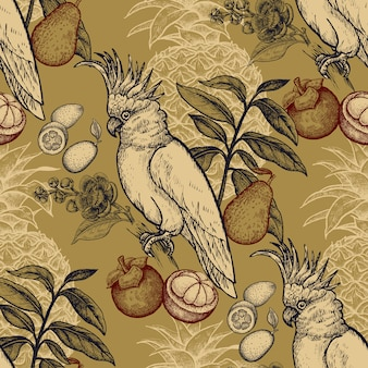Seamless pattern with exotic fruit and cockatoo.