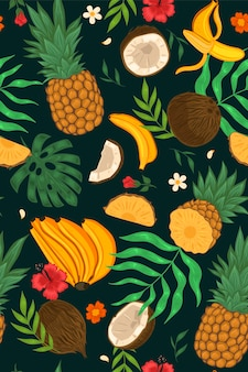 Seamless pattern with exotic fruits, flowers, leaves. vector graphics.