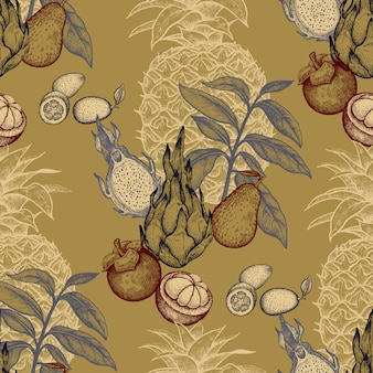 Seamless pattern with exotic fruits.