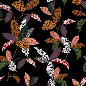 야생 정글 분위기의 표범, 치타, 얼룩말 및 호랑이 인쇄 : 이국적인 식물과 원활한 패턴이 동물의 피부로 채워집니다.