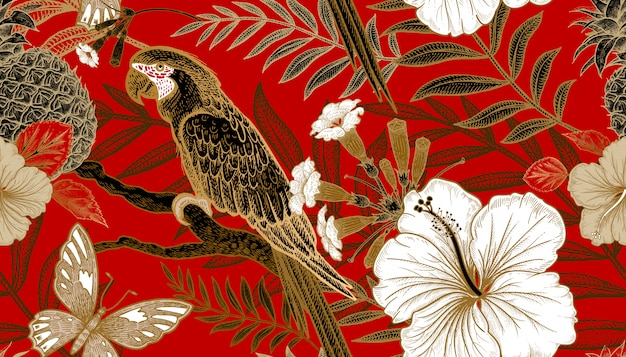 Бесшовный фон с экзотическими растениями и попугаями.