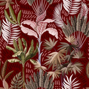 Seamless pattern with exotic trees such us palm and banana