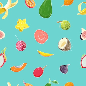 Seamless pattern with exotic tropical fruits. colorful background.