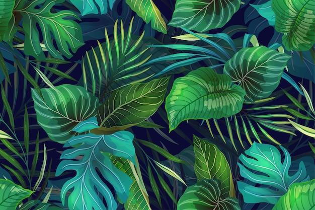 현대적인 스타일의 이국적인 열대 식물과 원활한 패턴